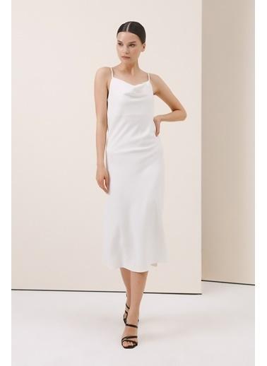 Gusto Degaje Yakalı Elbise - Beyaz Degaje Yakalı Elbise - Beyaz Beyaz